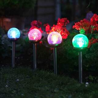 Crackle Globe Stake Light 5pc Carry Pack