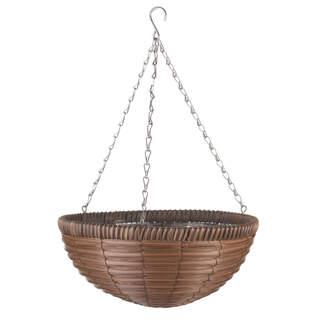 14 Chestnut Faux Rattan Basket