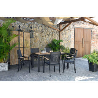 DuraOcean Panama Rectangular Table 6 Seater, Parasol & Base