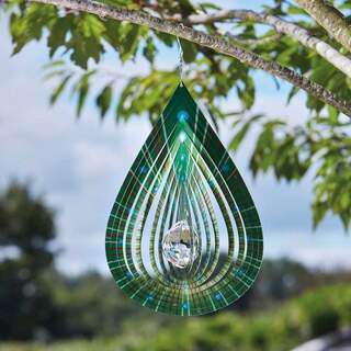 Crystal Teardrop Spinner Lime 37 cm